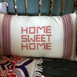 "Pier 1 ""Home Sweet Home"" embroidered lumbar pillow"